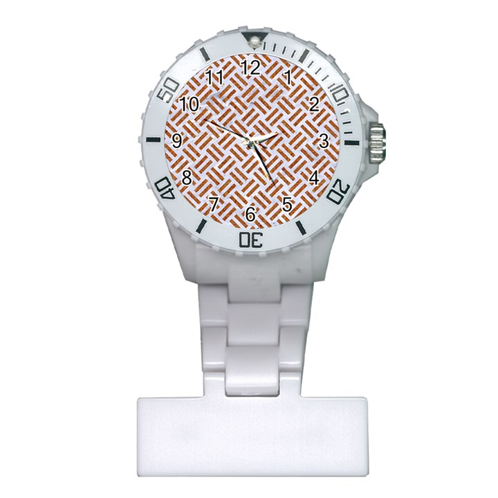 WOVEN2 WHITE MARBLE & RUSTED METAL (R) Plastic Nurses Watch