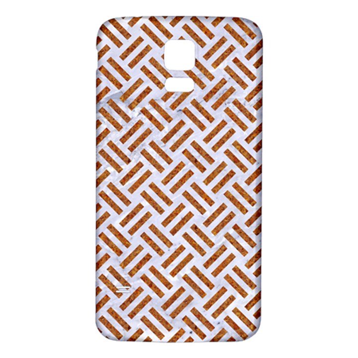 WOVEN2 WHITE MARBLE & RUSTED METAL (R) Samsung Galaxy S5 Back Case (White)