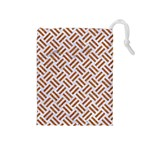 WOVEN2 WHITE MARBLE & RUSTED METAL (R) Drawstring Pouches (Medium)  Front