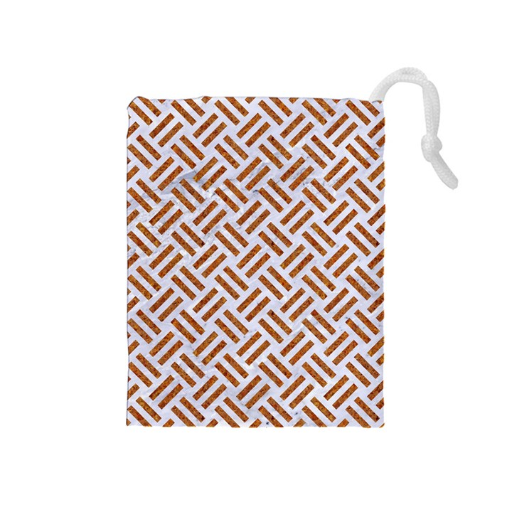 WOVEN2 WHITE MARBLE & RUSTED METAL (R) Drawstring Pouches (Medium)