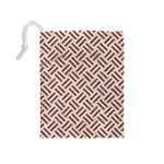 WOVEN2 WHITE MARBLE & RUSTED METAL (R) Drawstring Pouches (Medium)  Back