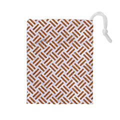 Woven2 White Marble & Rusted Metal (r) Drawstring Pouches (large)