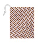 WOVEN2 WHITE MARBLE & RUSTED METAL (R) Drawstring Pouches (Large)  Back
