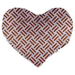 Woven2 White Marble & Rusted Metal (r) Large 19  Premium Flano Heart Shape Cushions