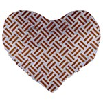 WOVEN2 WHITE MARBLE & RUSTED METAL (R) Large 19  Premium Flano Heart Shape Cushions Front