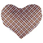 WOVEN2 WHITE MARBLE & RUSTED METAL (R) Large 19  Premium Flano Heart Shape Cushions Back