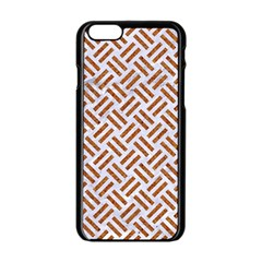 Woven2 White Marble & Rusted Metal (r) Apple Iphone 6/6s Black Enamel Case