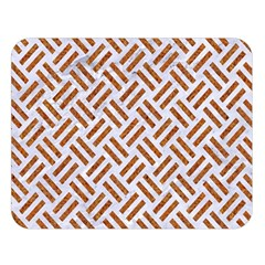 Woven2 White Marble & Rusted Metal (r) Double Sided Flano Blanket (large)