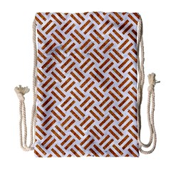 Woven2 White Marble & Rusted Metal (r) Drawstring Bag (large)