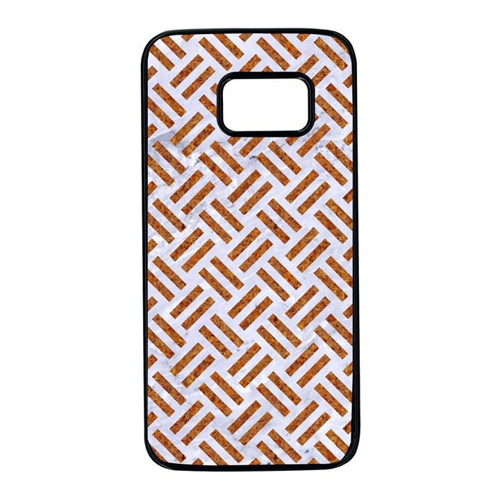 WOVEN2 WHITE MARBLE & RUSTED METAL (R) Samsung Galaxy S7 Black Seamless Case