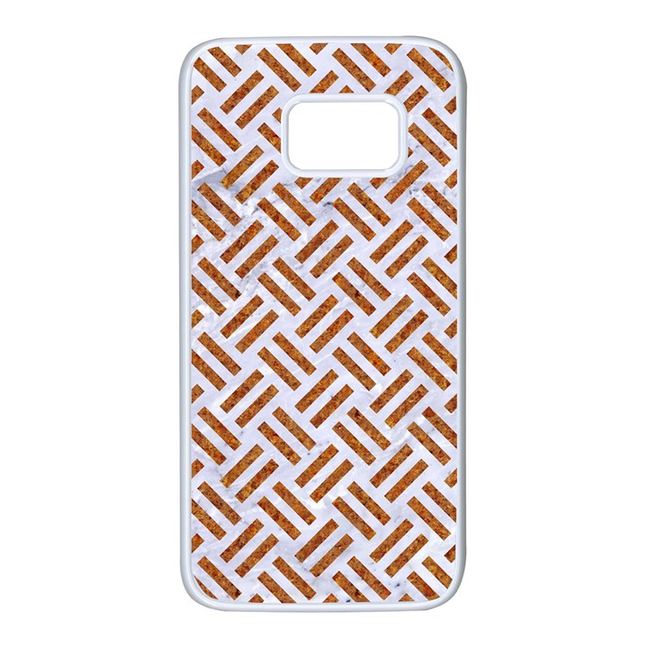 WOVEN2 WHITE MARBLE & RUSTED METAL (R) Samsung Galaxy S7 White Seamless Case