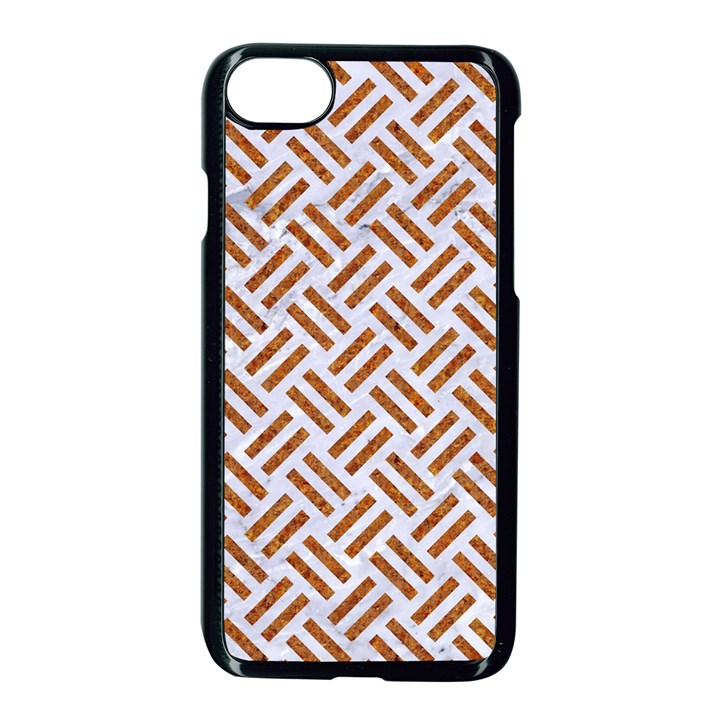 WOVEN2 WHITE MARBLE & RUSTED METAL (R) Apple iPhone 8 Seamless Case (Black)