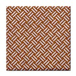 WOVEN2 WHITE MARBLE & RUSTED METAL Tile Coasters Front