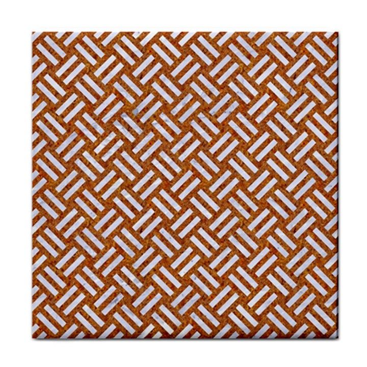 WOVEN2 WHITE MARBLE & RUSTED METAL Tile Coasters