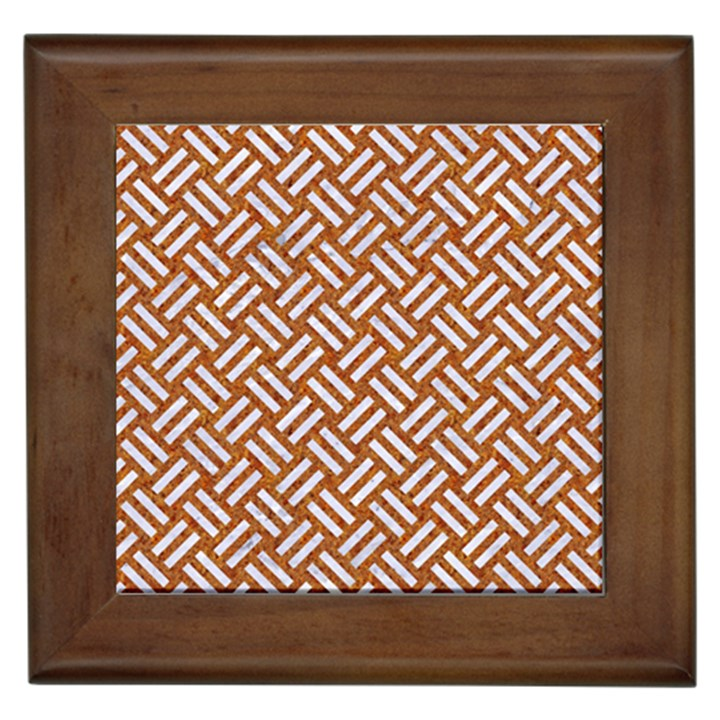 WOVEN2 WHITE MARBLE & RUSTED METAL Framed Tiles