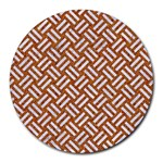 WOVEN2 WHITE MARBLE & RUSTED METAL Round Mousepads Front