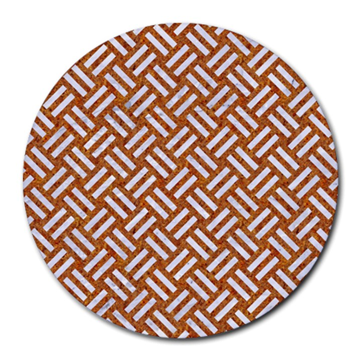WOVEN2 WHITE MARBLE & RUSTED METAL Round Mousepads