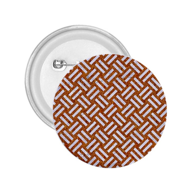 WOVEN2 WHITE MARBLE & RUSTED METAL 2.25  Buttons