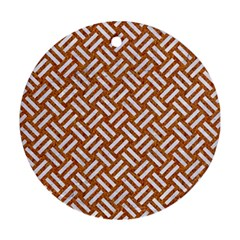 Woven2 White Marble & Rusted Metal Ornament (round)