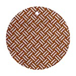 WOVEN2 WHITE MARBLE & RUSTED METAL Ornament (Round) Front