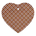 WOVEN2 WHITE MARBLE & RUSTED METAL Ornament (Heart) Front