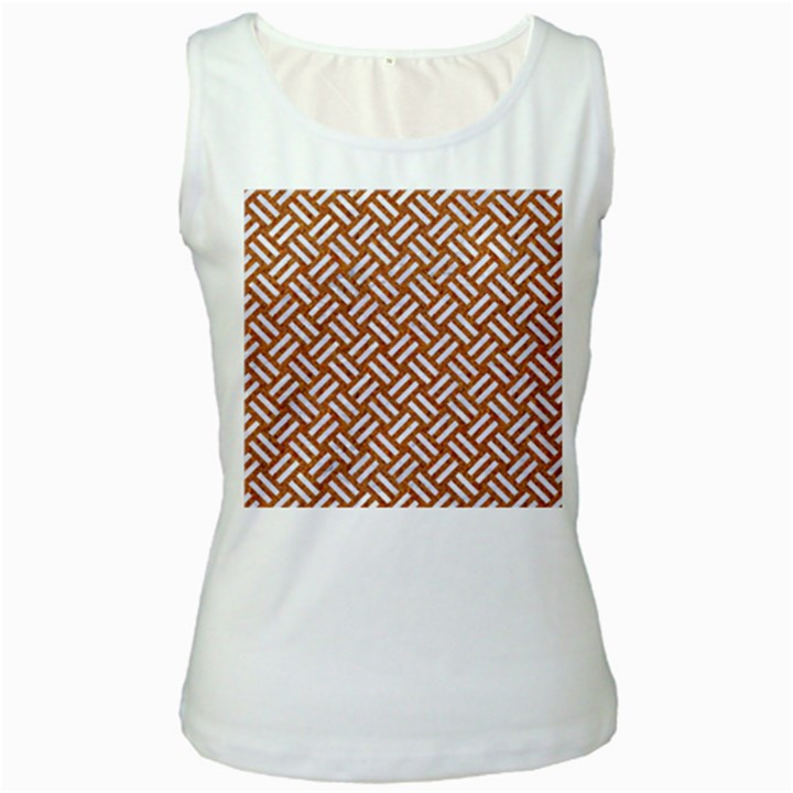 WOVEN2 WHITE MARBLE & RUSTED METAL Women s White Tank Top