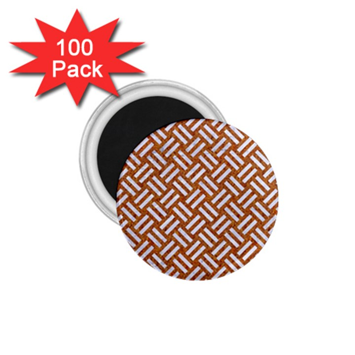 WOVEN2 WHITE MARBLE & RUSTED METAL 1.75  Magnets (100 pack)