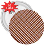 WOVEN2 WHITE MARBLE & RUSTED METAL 3  Buttons (10 pack)  Front