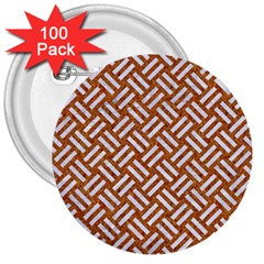 Woven2 White Marble & Rusted Metal 3  Buttons (100 Pack)