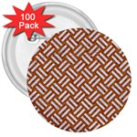 WOVEN2 WHITE MARBLE & RUSTED METAL 3  Buttons (100 pack)  Front