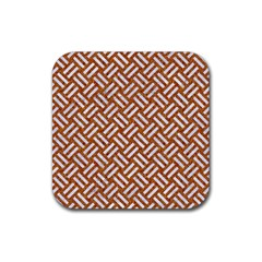 Woven2 White Marble & Rusted Metal Rubber Coaster (square)