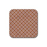 WOVEN2 WHITE MARBLE & RUSTED METAL Rubber Coaster (Square)  Front