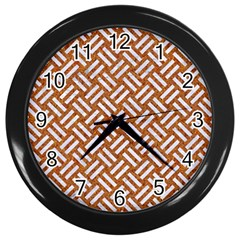Woven2 White Marble & Rusted Metal Wall Clocks (black)