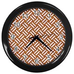 WOVEN2 WHITE MARBLE & RUSTED METAL Wall Clocks (Black) Front