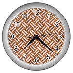 WOVEN2 WHITE MARBLE & RUSTED METAL Wall Clocks (Silver)  Front