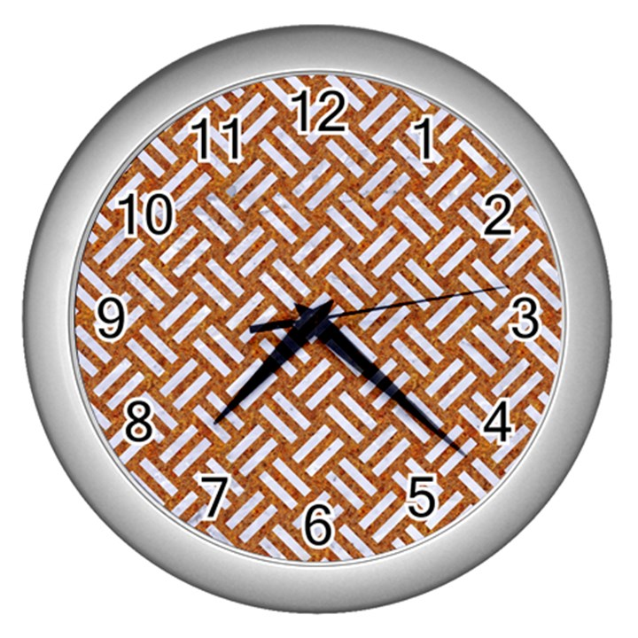WOVEN2 WHITE MARBLE & RUSTED METAL Wall Clocks (Silver)