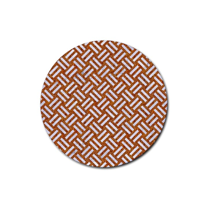 WOVEN2 WHITE MARBLE & RUSTED METAL Rubber Coaster (Round)