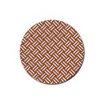 WOVEN2 WHITE MARBLE & RUSTED METAL Rubber Round Coaster (4 pack)  Front