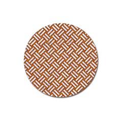 Woven2 White Marble & Rusted Metal Magnet 3  (round)