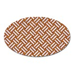 WOVEN2 WHITE MARBLE & RUSTED METAL Oval Magnet Front