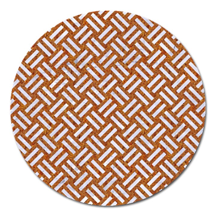 WOVEN2 WHITE MARBLE & RUSTED METAL Magnet 5  (Round)