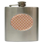 WOVEN2 WHITE MARBLE & RUSTED METAL Hip Flask (6 oz) Front