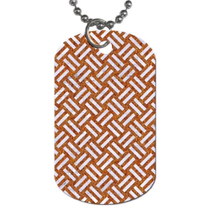 WOVEN2 WHITE MARBLE & RUSTED METAL Dog Tag (Two Sides)