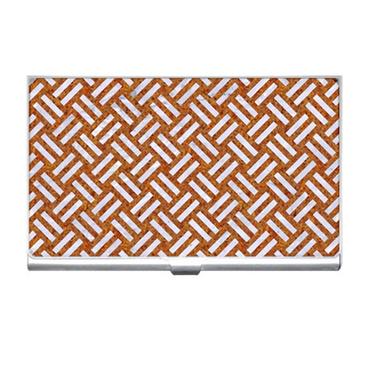WOVEN2 WHITE MARBLE & RUSTED METAL Business Card Holders