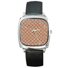 Woven2 White Marble & Rusted Metal Square Metal Watch