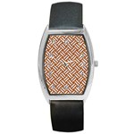 WOVEN2 WHITE MARBLE & RUSTED METAL Barrel Style Metal Watch Front