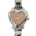 WOVEN2 WHITE MARBLE & RUSTED METAL Heart Italian Charm Watch Front