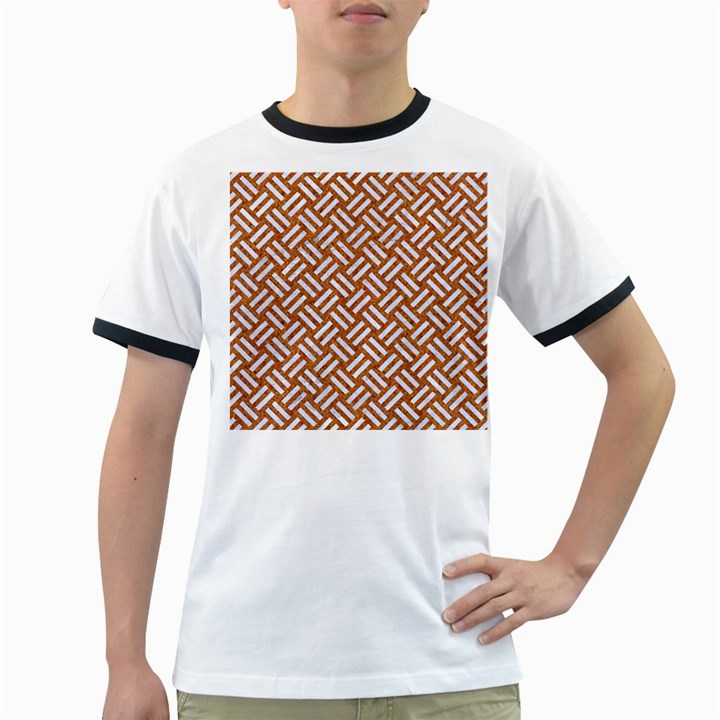 WOVEN2 WHITE MARBLE & RUSTED METAL Ringer T-Shirts