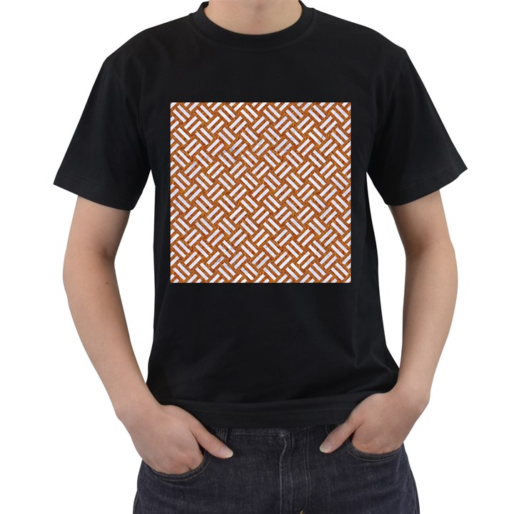 WOVEN2 WHITE MARBLE & RUSTED METAL Men s T-Shirt (Black) (Two Sided)