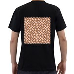 WOVEN2 WHITE MARBLE & RUSTED METAL Men s T-Shirt (Black) (Two Sided) Back